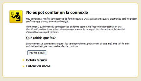 Captura d'avís de Mozilla Firefox